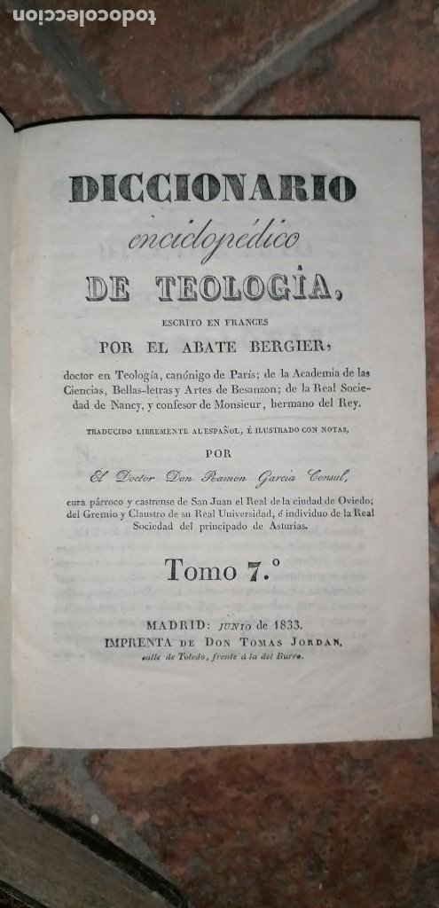 Diccionarios antiguos: LIBROS DICCIONARIO ENCICLOPÉDICO DE TEOLOGIA. BERGIER. 1831-1835 - Foto 37 - 267705234