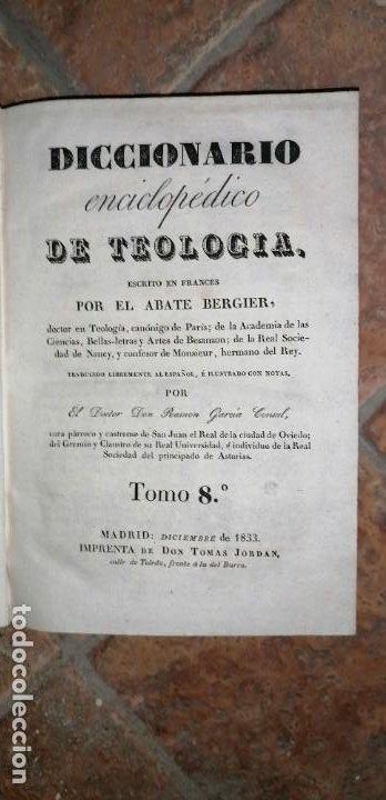 Diccionarios antiguos: LIBROS DICCIONARIO ENCICLOPÉDICO DE TEOLOGIA. BERGIER. 1831-1835 - Foto 40 - 267705234