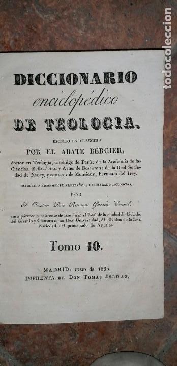 Diccionarios antiguos: LIBROS DICCIONARIO ENCICLOPÉDICO DE TEOLOGIA. BERGIER. 1831-1835 - Foto 48 - 267705234