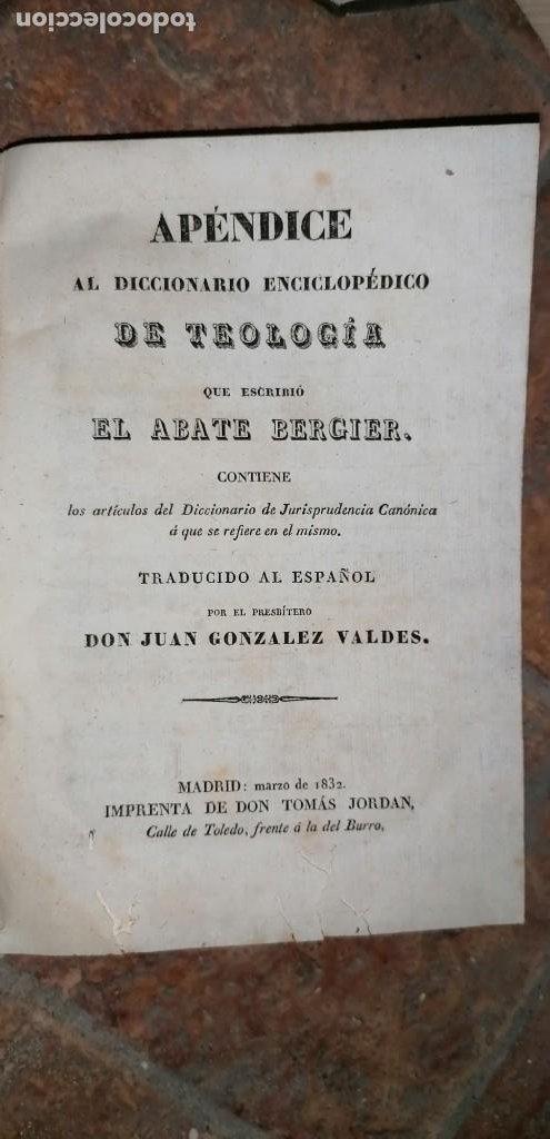 Diccionarios antiguos: LIBROS DICCIONARIO ENCICLOPÉDICO DE TEOLOGIA. BERGIER. 1831-1835 - Foto 50 - 267705234
