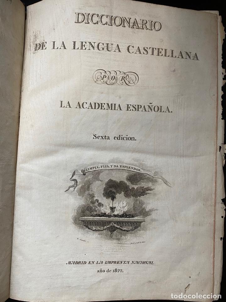 Diccionarios antiguos: DICCIONARIO DE LA LENGUA CASTELLANA. RAE. 6ª EDICION. IMPRENTA NACIONAL. MADRID, 1822. PAGS: 869 - Foto 4 - 268043664