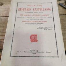 Diccionarios antiguos: F. RODRÍGUEZ MARÍN: MÁS DE 21000 REFRANES CASTELLANOS MADRID, 1926, 528 PÁGS.. Lote 270534263
