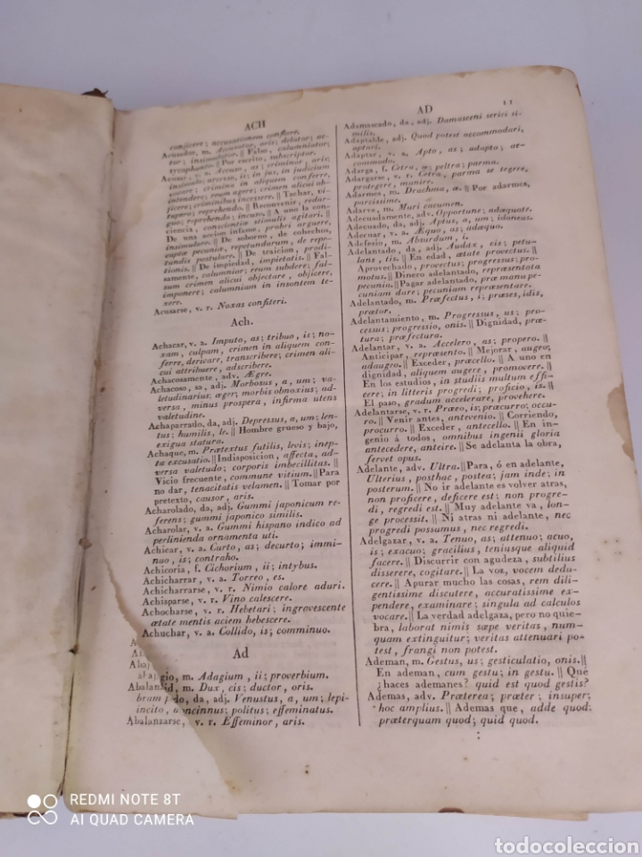 Diccionarios antiguos: Diccionario Español Latino por el Padre Juan Cayetano Losada de la Virgen del Carmen Madrid 1837 - Foto 2 - 272549298