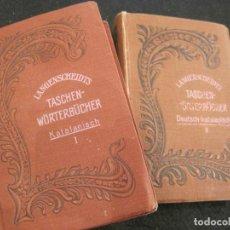 Diccionarios antiguos: DICCIONARI CATALA ALEMANY-2 VOL-LANGENSCHEIDTS TASCHEN WÖRTERBUCHER KATALANISCH-VER FOTOS-(V-22.848). Lote 274257428