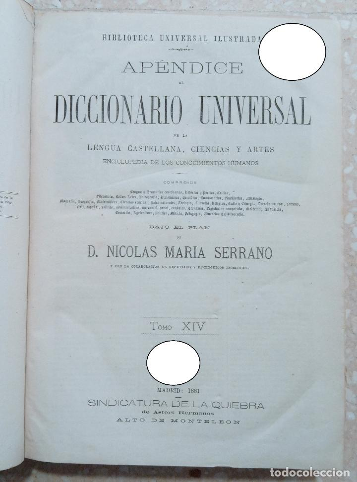 APENDICE AL DICCIONARIO UNIVERSAL LENGUA CASTELLANA, CIENCIAS Y ARTES. TOMO XIV. 1881 (Libros Antiguos, Raros y Curiosos - Diccionarios)