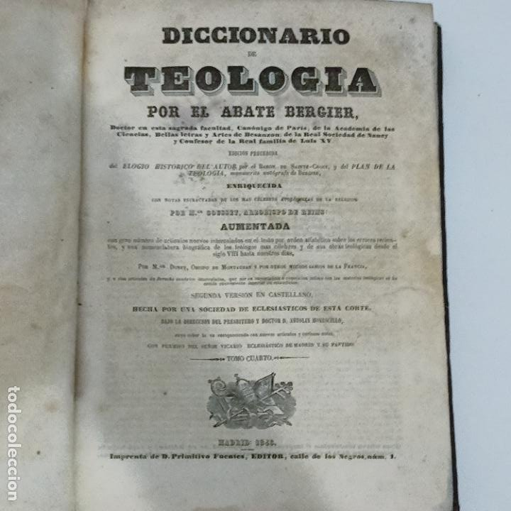 Diccionarios antiguos: BERGIER, DICCIONARIO DE TEOLOGIA tomo 4 Q-Z 1846 - Foto 6 - 274795118
