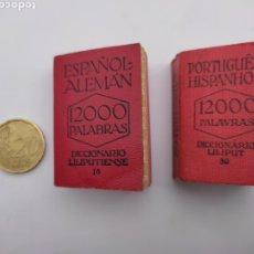 Diccionarios antiguos: DOS MINI DICCIONARIOS LILIPUTIENSES ESPAÑOL- ALEMÁN Y PORTUGUÉS. Lote 275108443