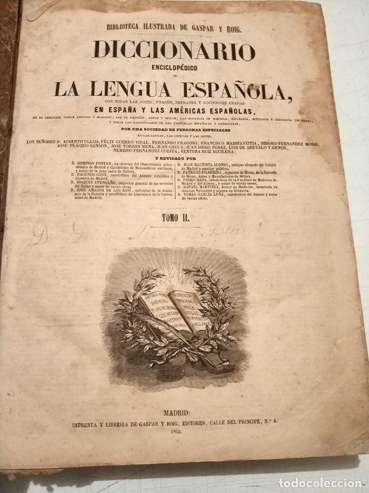 Diccionarios antiguos: antiguo diccionario enciclopédico de la lengua española gaspar y roig año 1853 - 2 tomos - Foto 4 - 276264618