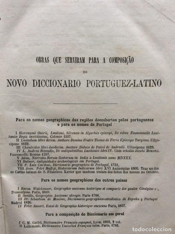 Diccionarios antiguos: Novo Diccionario Portuguez - Latino. Composto por Manuel Bernardes Branco, 1879. Muy escaso - Foto 3 - 276635488