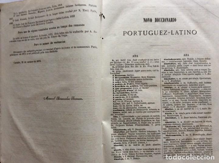 Diccionarios antiguos: Novo Diccionario Portuguez - Latino. Composto por Manuel Bernardes Branco, 1879. Muy escaso - Foto 4 - 276635488