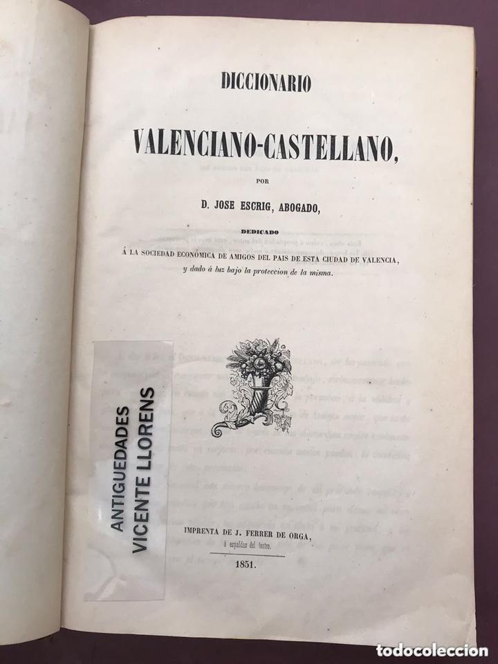 DICCIONARIO VALENCIANO-CASTELLANO. JOSE ESCRIG. 1851 (Libros Antiguos, Raros y Curiosos - Diccionarios)