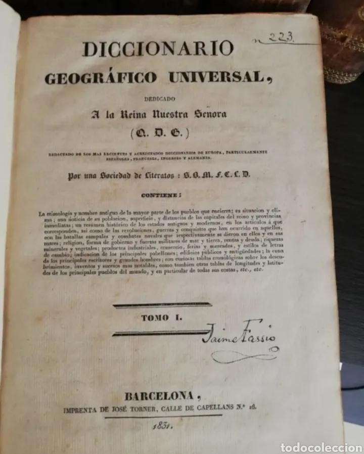 Diccionarios antiguos: 1831 - diccionario geográfico universal - 10 tomos - imprenta José torner Barcelona - Foto 2 - 276698093
