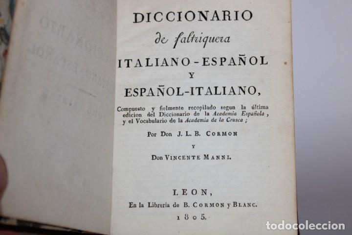 Diccionarios antiguos: 1805 / DICCIONARIO DE CORMON,ITALIANO-ESPAÑOL,ESPAÑOL-ITALIANO 2 TOMOS - Foto 8 - 277175578