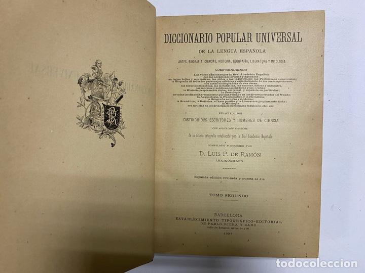 Diccionarios antiguos: DICCIONARIO POPULAR UNIVERSAL DE LA LENGUA ESPAÑOLA. 6 TOMOS. LUIS P. DE RAMÓN. BARCELONA, 1896. - Foto 7 - 288911268