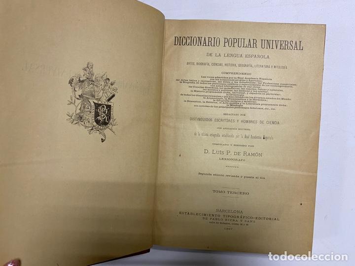 Diccionarios antiguos: DICCIONARIO POPULAR UNIVERSAL DE LA LENGUA ESPAÑOLA. 6 TOMOS. LUIS P. DE RAMÓN. BARCELONA, 1896. - Foto 11 - 288911268