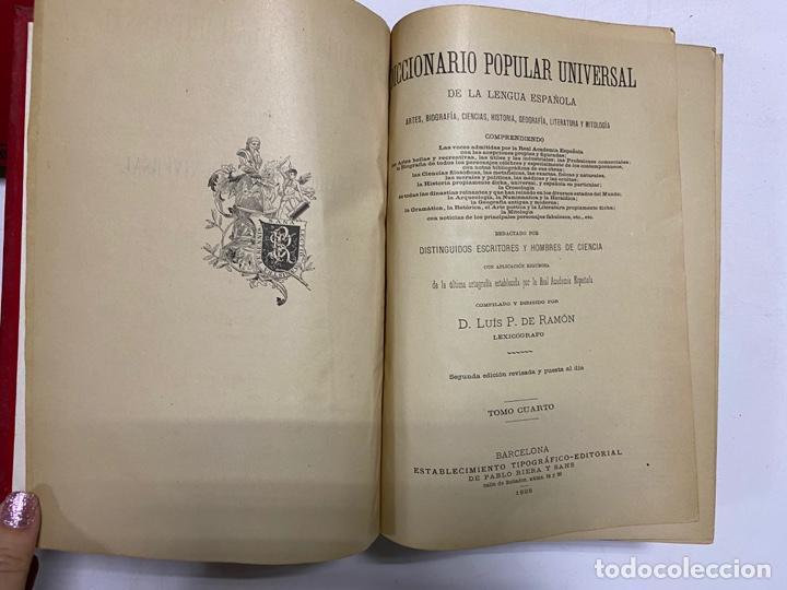 Diccionarios antiguos: DICCIONARIO POPULAR UNIVERSAL DE LA LENGUA ESPAÑOLA. 6 TOMOS. LUIS P. DE RAMÓN. BARCELONA, 1896. - Foto 15 - 288911268
