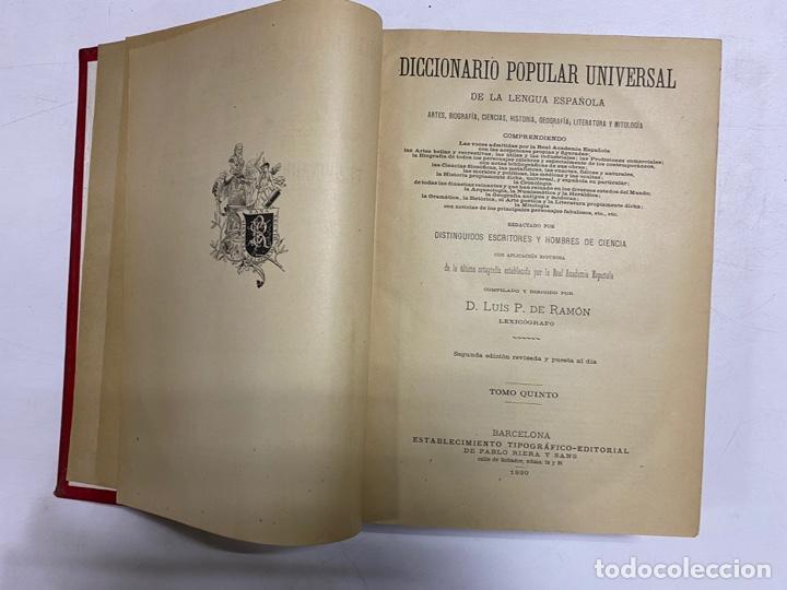 Diccionarios antiguos: DICCIONARIO POPULAR UNIVERSAL DE LA LENGUA ESPAÑOLA. 6 TOMOS. LUIS P. DE RAMÓN. BARCELONA, 1896. - Foto 19 - 288911268