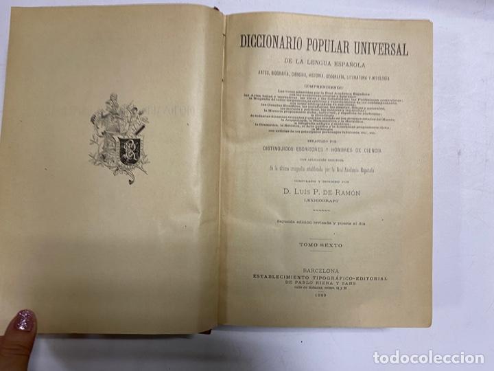 Diccionarios antiguos: DICCIONARIO POPULAR UNIVERSAL DE LA LENGUA ESPAÑOLA. 6 TOMOS. LUIS P. DE RAMÓN. BARCELONA, 1896. - Foto 23 - 288911268