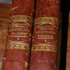 Diccionarios antiguos: COMPENDIO DEL DICCIONARIO NACIONAL DE LA LENGUA ESPAÑOLA D. R.J. DOMINGUEZ MADRID 1852 DOS TOMOS. Lote 295765423