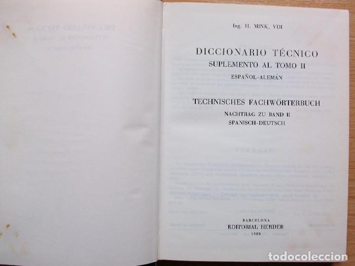 Diccionarios: TECHNISCHES FACHWÖRTERBUCH. NACHTRAG ZU BAND II. SPANISCH - DEUTSCH. H. MINK. VDI. 1980 - Foto 3 - 127668795
