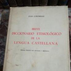 Diccionarios: BREVE DICCIONARIO ETIMOLÓGICO DE LA LENGUA CASTELLANA. Lote 132465227