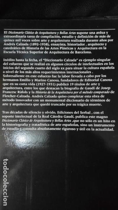 Diccionarios: DICCIONARIO CLASICO DE ARQUITECTURA Y BELLAS ARTES ( ANDRES CALZADA ECHEVARRIA ) - Foto 2 - 183675113