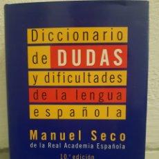 Diccionarios: DICCIONARIO DE DUDAS Y DIFICULTADES DE LA LENGUA ESPAÑOLA. MANUEL SECO DE LA REAL ACADEMIA ESPAÑOLA.. Lote 179196701
