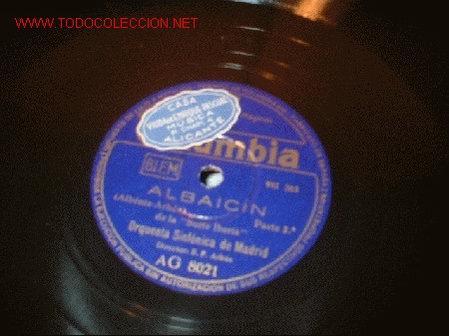 DISCO DE GRAMOFONO DE COLUMBIA -ALBAICIN-ORQUESTA SINFONOCA DE MADRID. (Música - Discos - Pizarra - Flamenco, Canción española y Cuplé)