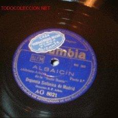 Discos de pizarra: DISCO DE GRAMOFONO DE COLUMBIA -ALBAICIN-ORQUESTA SINFONOCA DE MADRID.. Lote 115439131