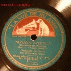 Discos de pizarra: ANTIGUO DISCO DE GRAMOFONO DE LA VOZ DE SU AMO -SONATA EN DO SOSTENIDO MENOR- Y -SONATA PATETICA-. Lote 883389