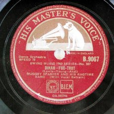 Discos de pizarra: MUGGSY SPANIER AND HIS RAGTIME BAND ( DINAH - BLACK AND BLUE ). Lote 19391662