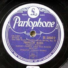 Discos de pizarra: HARRY PARRY AND HIS RADIO SEXTET ( TRAVELLIN' BLUES - ALEXANDER'S RAGTIME BAND ) THE 1943 SUPER RHY. Lote 876077