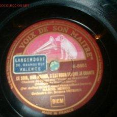 Discos de pizarra: ANTIGUO DISCO GRAMOFONO FRANCES-MARCEL MERKES.. Lote 199718
