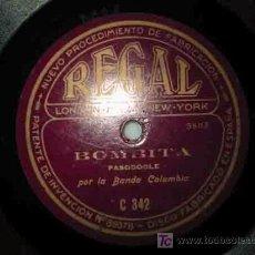 Discos de pizarra: BOMBITA (PASODOBLE); A LOS TOROS (PASODOBLE) POR LA BANDA ESPAÑOLA. REGAL. Lote 19535819