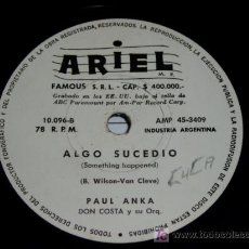 Discos de pizarra: DISCO 78 RPM PAUL ANKA RARO. Lote 4657185