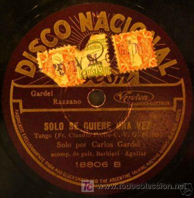 Discos de pizarra: disco de gramola de Carlos Gardel, MISTERIO - Foto 2 - 27343018