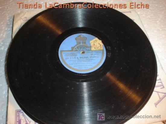 Discos de pizarra: ANTIGUO DISCO DE GRAMOFONO ODEON, SI VAS A PARIS PAPA , ORIGINAL DE LOS AÑOS 20/30. - Foto 2 - 6108044