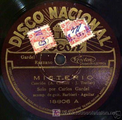 DISCO DE GRAMOLA DE CARLOS GARDEL, MISTERIO (Música - Discos - Pizarra - Solistas Melódicos y Bailables)