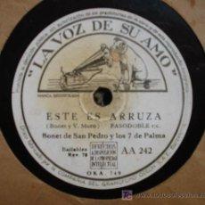 Discos de pizarra: BONET DE SAN PEDRO Y LOS 7 DE PALMA : ESTE ES ARRUZA; CARITA DE ÁNGEL. Lote 24535874