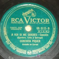 Discos de pizarra: DISCO 78 RPM - CONCHITA PIQUER - RCA VICTOR - DISCO DE PIZARRA. Lote 7829313