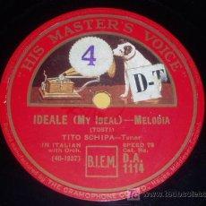 Discos de pizarra: DISCO 78 RPM - TENOR TITO SCHIPA - CANCIÓN NAPOLITANA - MARECHIARE - DISCO DE PIZARRA. Lote 7829599