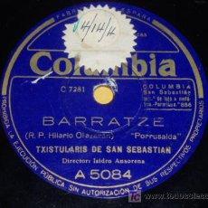 Discos de pizarra: DISCO 78 RPM - TXISTULARIS DE SAN SEBASTIÁN - COLUMBIA - FOLKLORE VASCO - DISCO DE PIZARRA. Lote 7830396
