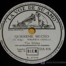 Discos de pizarra: DISCO 78 RPM - TENOR TITO SCHIPA - SERENATA Y CANCIÓN - LA VOZ DE SU AMO - DISCO DE PIZARRA. Lote 7830532