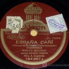 Discos de pizarra: DISCO 78 RPM - BARÍTONO MARCOS REDONDO - PASODOBLES ESPAÑOLES - DISCO DE PIZARRA. Lote 7831054