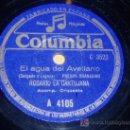 Discos de pizarra: DISCO 78 RPM - ROSARIO LA CARTUJANA - COLUMBIA - PREGÓN GRANADINO - EL AGUA DEL AVELLANO - PIZARRA. Lote 10044181