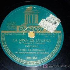 Discos de pizarra: DISCO 78 RPM - TOMÁS DE ANTEQUERA - ORQUESTA - ODEON - TANGUILLO - GARROTÍN - FLAMENCO - PIZARRA. Lote 7848391