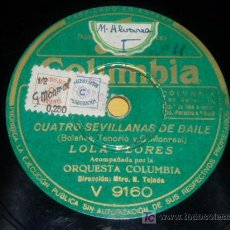 Discos de pizarra: DISCO 78 RPM - COLUMBIA - LOLA FLORES - ORQUESTA COLUMBIA - SEVILLANAS - BULERÍAS - PIZARRA. Lote 7850075