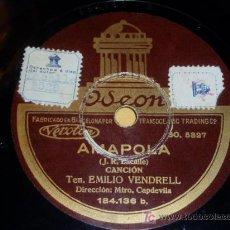 Discos de pizarra: DISCO 78 RPM - TENOR EMILIO VENDRELL - ODEON - AMAPOLA / CHIQUITA - DISCO DE PIZARRA. Lote 7885254