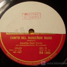 Discos de pizarra: DISCO 78 RPM - AMELITA GALLI CURCI - GRAMÓFONO DISCO DE MUESTRA - CLAVELITOS / CANTO... - PIZARRA. Lote 7885494