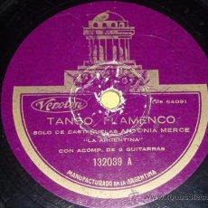 Discos para gramofone: DISCO 78 RPM - ANTONIA MERCÉ LA ARGENTINA - ODEON - TANGO FLAMENCO - DISCO DE PIZARRA. Lote 8458971